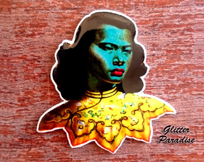 The Chinese Girl - Brooch - Vladimir Tretchikoff -  Green Lady - Asian Art - Mid-Century Modern - 50's Painting - Retro - Glitter Paradise®