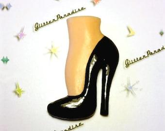 Vintage Fetish Stiletto - Brooch - Vintage Sleaze - Fetish Shoes - 40s - 50s - High Heels - Shoe Fetish - Novelty Brooch - Glitter Paradise®