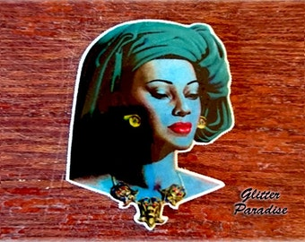 Balinese Girl - Brooch - 50S Painting Tribute - Mid-Century Modern - 1959 - Bali - Blue Lady - Balinese Beauty - Retro - Glitter Paradise®