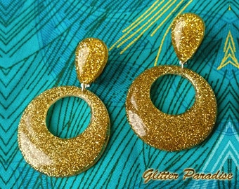 Confetti Lucite Hoops & Drops Gold - Earrings - Hoops Earrings - Glitter Hoops - Retro - Pinup - 50s - Vintage Inspired - Glitter Paradise®
