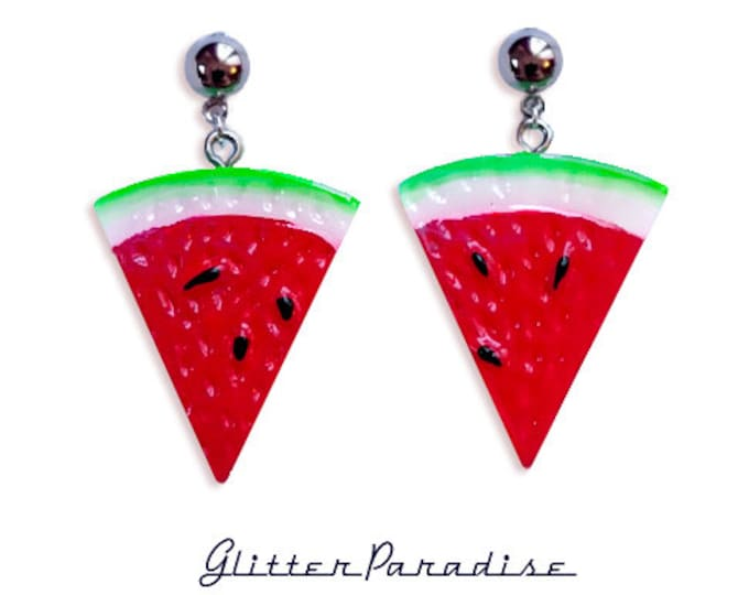 Retro Watermelon Quarter - Earrings - Fruits - Tropical - Carmen Miranda - Vintage Exotica - Tutti Frutti - 50s - Retro - Glitter Paradise®