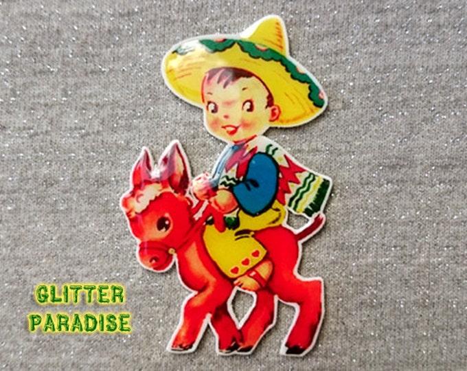 Charrito Cutie - Brooch - Vintage Valentines - 1940s 1950s Valentines - Mexico - Charro - Emiliano Zapata - Sombrero - Glitter Paradise®