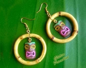 Natural Bamboo & Tiki - Earrings - Bamboo Root - Bamboo Hoops - Bamboo Jewelries - Tiki Earrings - 50's - Aloha - Retro - Glitter Paradise®