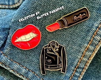 Pins Set - Bad Gal Kit - Lipstick - Perfecto - Red Lips - Bad Girl ∾ Pins