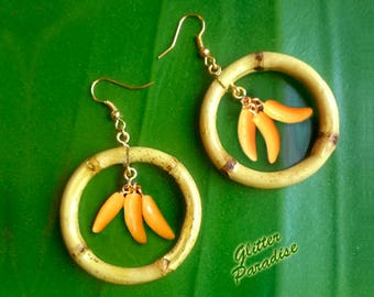 Natural Bamboo & Bananas - Earrings - Bamboo Earrings - Bamboo Hoops - Bamboo Jewelry - Bananas Earrings - 50's - Retro - Glitter Paradise®