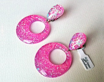 Confetti Lucite Hoops & Drops Candy Pink - Earrings - Confetti Lucite - Hoops Earrings - Glitter Hoops - Retro - Pinup - Glitter Paradise®