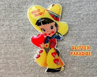 CowGirl Cutie - Brooch - Vintage Valentines - 40s 50s Valentines - Western - Cowboy - Far West - Texas - Riding - Retro - Glitter Paradise®