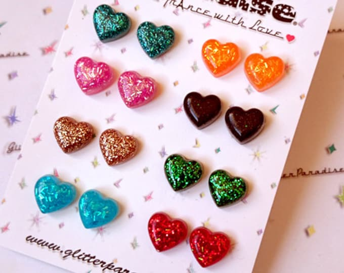 Confetti Lucite Baby Heart - Earrings - Glitter Hearts - Glitter Earrings - Lucite - Retro Earrings - 50s - Love - Pinup - Glitter Paradise®