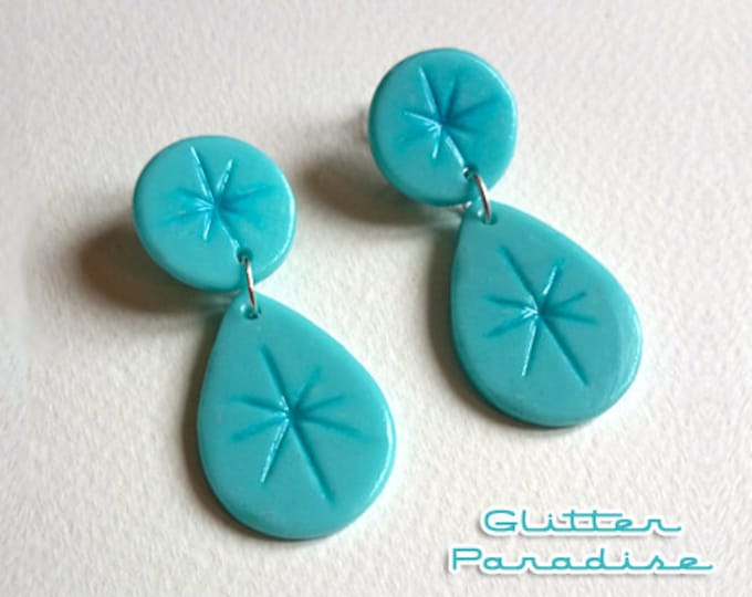 30's Fakelite Carved Dômes & Drops - Earrings - Fakelite - Bakelite Style - 50s - Mid-Century Modern - Pinup - Retro - Glitter Paradise®