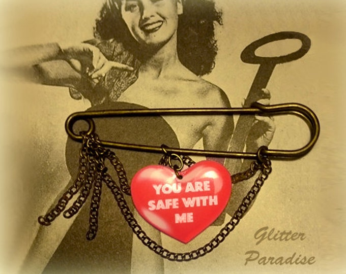 Safety Pin - Pin - You Are Safe With Me - Peace - United - All Together - I Care - Glitter Paradise®