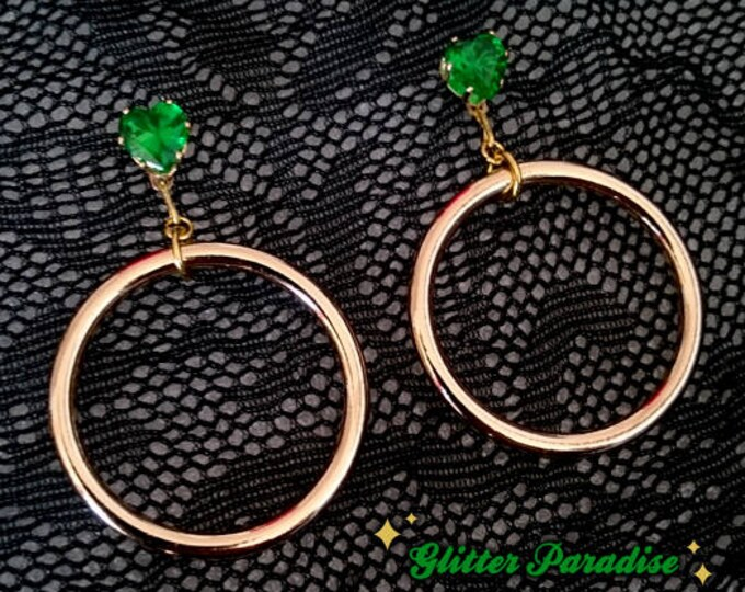 Retro Hoops Gold & Hearts - Earrings -  Barbie Hoops - Pinup Hoops - Hoops Earrings - Gold Hoops - 50s - Retro Jewelry - Glitter Paradise®