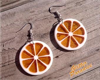 Citrus Slice - Earrings - Orange - Lemon - Citrus - Fruits - Vintage Exotica - Fakelite - 50s - Retro - Summer - Pinup - Glitter Paradise®