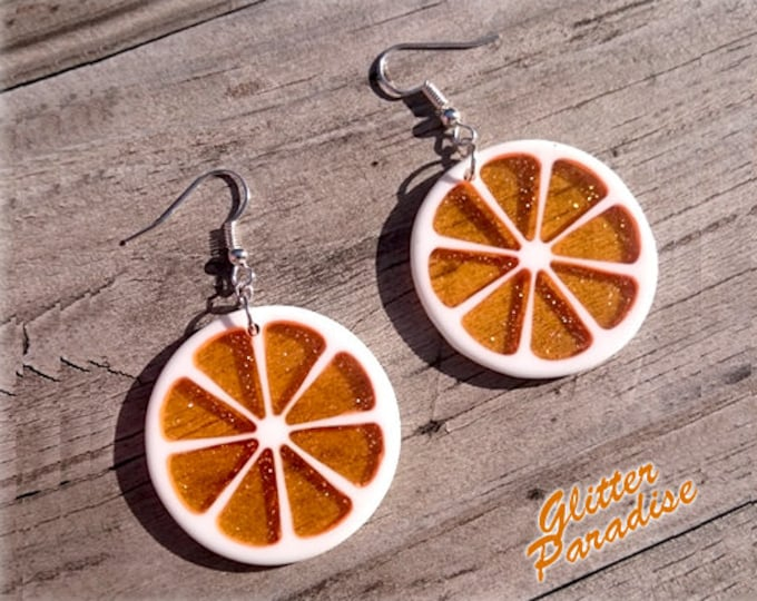 Citrus Slice - Earrings - Orange - Lemon - Citrus - Fruits - Vintage Exotica - Fakelite - 50s - Retro - Summer - Pinup - Glitter Paradise®