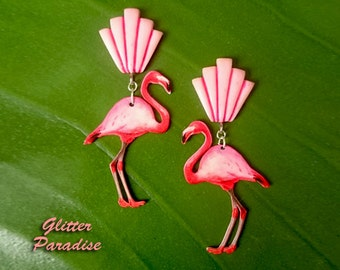 Deco Shell & Flamingo - Earrings - Flamingo Jewelry - Pink Flamingo - Art Deco - Deco Flamingo - 20s - 50s - Pinup - Glitter Paradise®