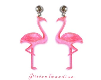 Retro Flamingos - Earrings - Pink Flamingo - Flamingo Jewelry - Flamingo Accessories - Glitter Flamingo - Cute Flamingo - Glitter Paradise®