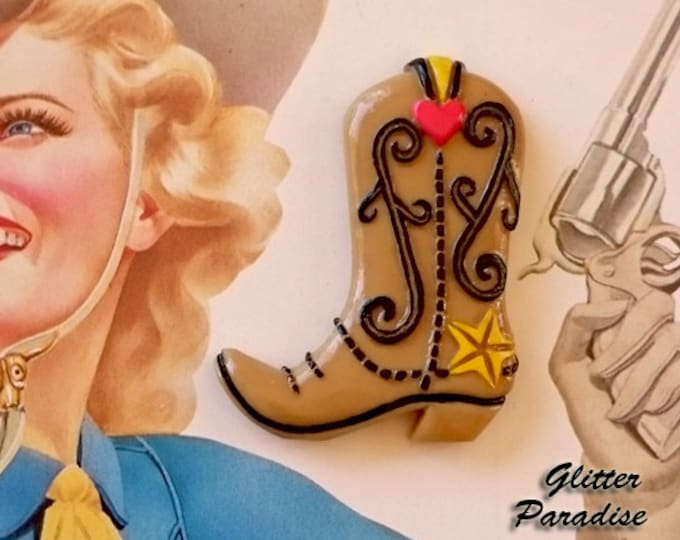 CowGirl Boots - Brooch - Cowboy - Retro Rodeo - Retro Western - Vintage Cowboy - Pinup Cowgirl - 50's - Novelty Brooch - Glitter Paradise®