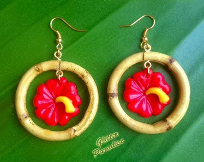 Natural Bamboo & Hibiscus - Earrings - Bamboo Root - Bamboo Hoops - Bamboo Jewelries - Hibiscus Earrings - Aloha - Retro - Glitter Paradise®