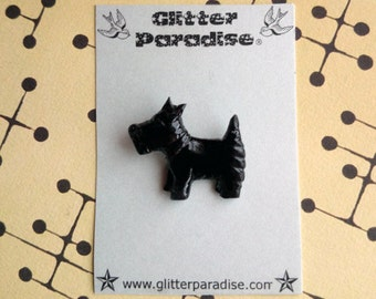 Black Scotty - Brooch - Scottish Terrier - 40s - Mid Century Modern - Hand Carved - Dog - Vintage Inspired - Retro - Glitter Paradise®