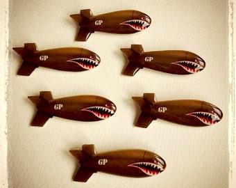 Shark Bomb - Brooch - Bomber - Shark Teeth - WWII - Flying Tigers - P-40 Warhawk - Army - Veteran Day - Aviation - Retro - Glitter Paradise®