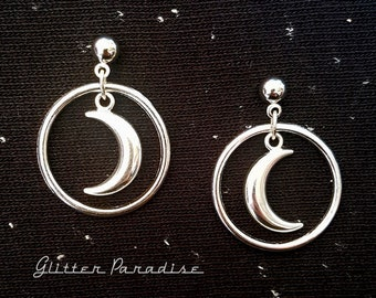 Crescent Moon Hoops - Earrings - Moon Earrings - Wicca - Coven - Witch - Magic - Moon Child - Pagan - Retro Earrings - Glitter Paradise®
