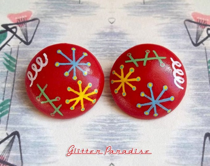Mid-Century Modern Dômes - Earrings - Mid-Century Modern - 1950s - Atomic - Retro - Vintage Inspired - Molecular - Atom - Glitter Paradise®