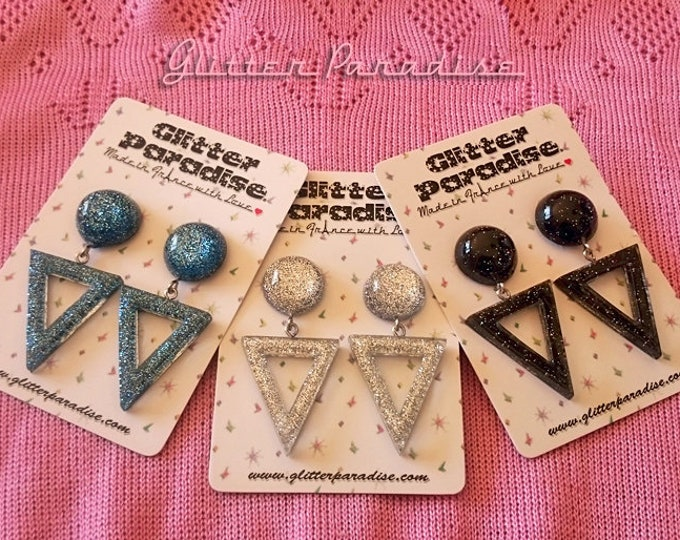 Lucite Triangle & Dômes - Earrings - Confetti Lucite - Hoops Earrings - Glitter Hoops - Retro - Pinup - Vintage Inspired - Glitter Paradise®