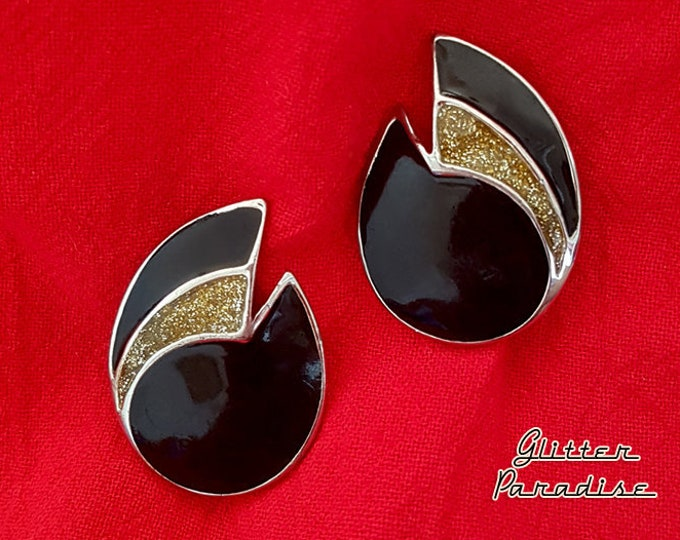 Original Vintage Black & Gold Note - Earrings - Art Deco - Vintage Finds - Vintage Tear Drop Earrings - 1980's Earrings - Glitter Paradise®