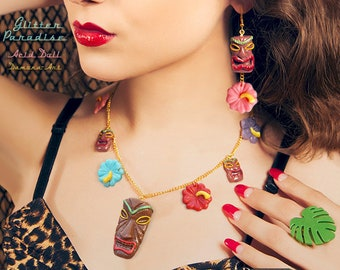 Tiki & Hibiscus - Necklace - Tiki Jewelry - Tiki Oasis - Hula Girl - Vintage Exotica - Hawaii Jewelry Tropical - Wahine - Glitter Paradise®