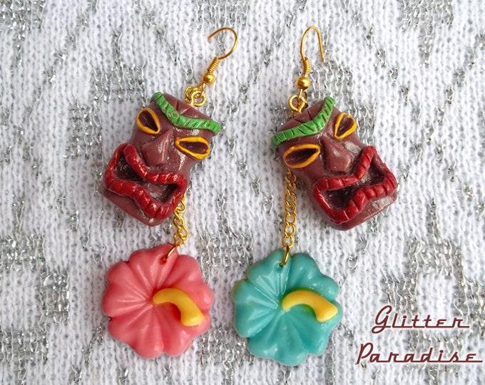 Tiki & Hibiscus - Earrings - Tiki Jewelry - Aloha - Oasis - Vintage Exotica - Hibiscus - Totem - Tropicana - Wahine - Glitter Paradise®