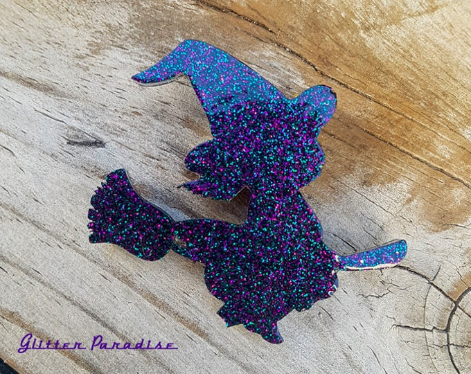 Lil Broom Rider - Pin - Magic - Wicca - Witchcraft - Salem - Witchcraft - Neo-paganism - Magic - Witch Broom - Witchery - Glitter Paradise®