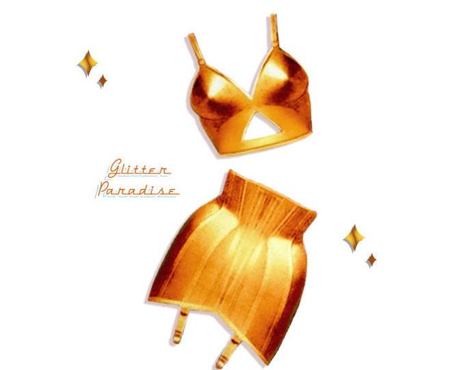 Bettie's Brassiere & Girdles Set Gold - Brooch Set - Retro Lingerie - Vintage Sleaze - Bettie Page - Retro Underwear - Glitter Paradise®