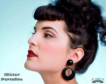 Hoops & Dômes Black - Earrings - Hoops Earrings - Retro Hoop - Pinup - 50s - 60's - Fakelite - Marilyn Hoops - Pin-Up - Glitter Paradise®