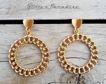 Retro Chain Hoops Love - Earrings - Retro Hearts - Hearts - Vintage Inspired - Retro Hoops - Heart Jewelry - Gold Hoops - Glitter Paradise®