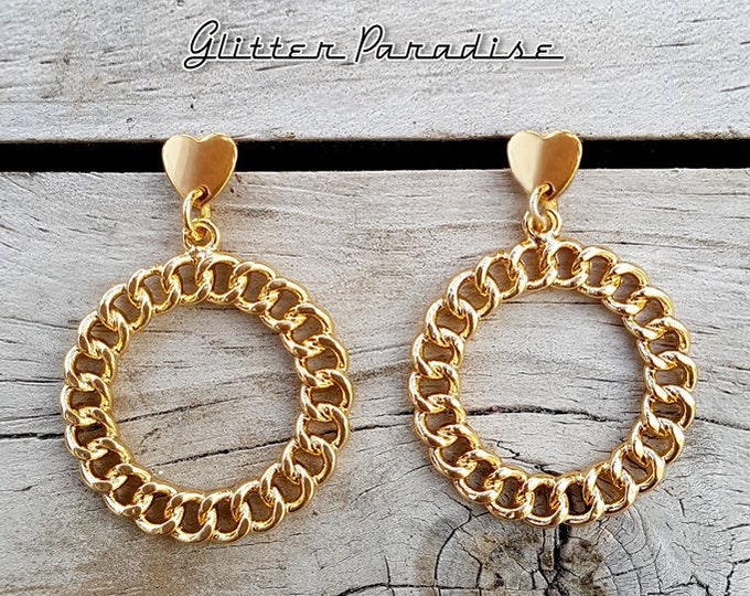Retro Chain Hoops Love - Earrings - Retro Hearts - Hearts - Vintage Inspired - Retro Hoops - Heart Jewelry - Gold Hoops - Glitter Paradise®