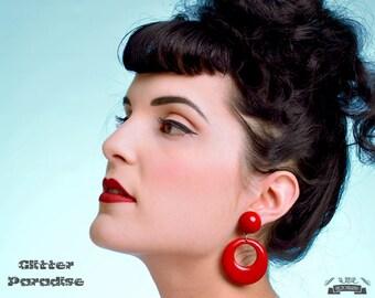 Hoops & Dômes Red - Earrings - Hoops Earrings - Retro Hoops - Pinup - 50s - 60's - Fakelite - Marilyn Hoops - Pin-Up - Glitter Paradise®