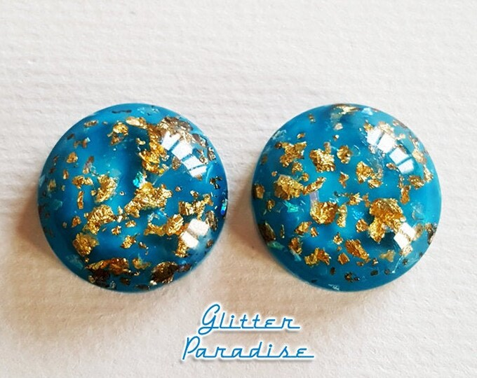 Gold Flakes Dômes Blue - Earrings - 1950's Retro Gold Flakes - Vintage Inspired Gold Flakes Jewelries - Blue & Gold - Glitter Paradise®