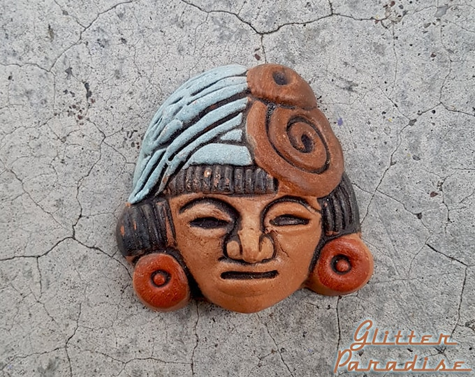 Aztec Mayan Clay Head  Repro - Brooch - Terracotta Red Clay - Primitive Aztec Sculpture - Pre Columbian Reproduction - Glitter Paradise®