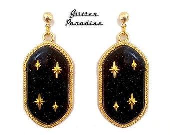 Retro Empire Black - Earrings - Dangle Diamonds - Princess Prom Jewels - Retro Glam - Prom Ball - 50s - Vintage Inspired - Glitter Paradise®