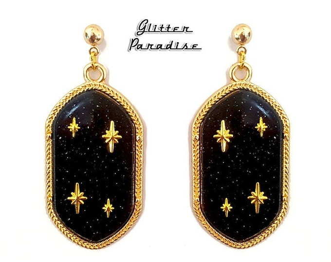 Retro Empire Black - Earrings - Dangle Diamonds - Princess Prom Jewels - Retro Glam - Prom Ball - 50s - Vintage Inspired - Glitter Paradise®