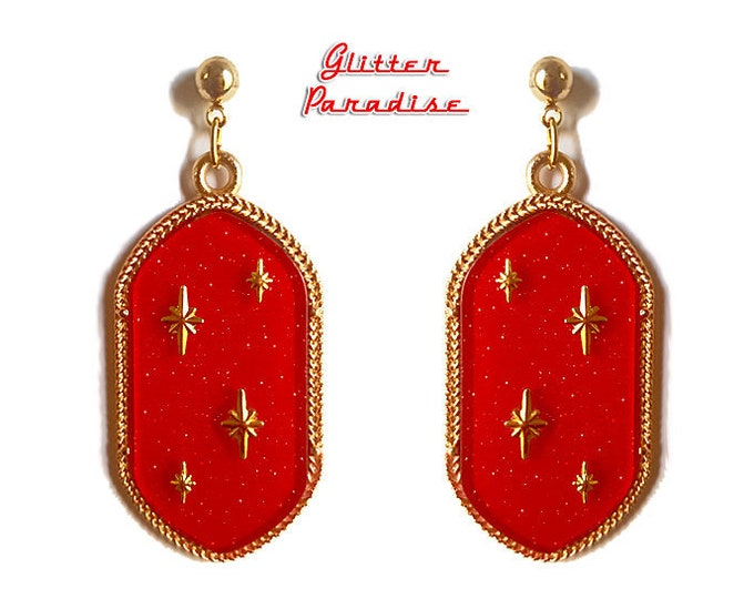 Retro Empire Red - Earrings - Dangle Diamonds - Princess Prom Jewels - Retro Glam - Prom Ball - 50s - Vintage Inspired - Glitter Paradise®
