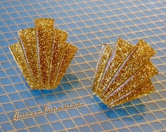 Lucite Giant Deco Shell Gold - Earrings - Glitter Jewelry - Lucite - Retro Earrings - Mid-Century Modern - Pinup - Glitter Paradise®