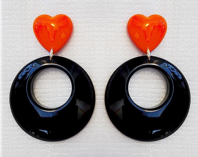 Hoops & Heart Combo - Earrings - 1950s Jewelry - Retro Hoops - Marilyn Hoops - Vintage Inspired - Valentine's Earrrings - Glitter Paradise®