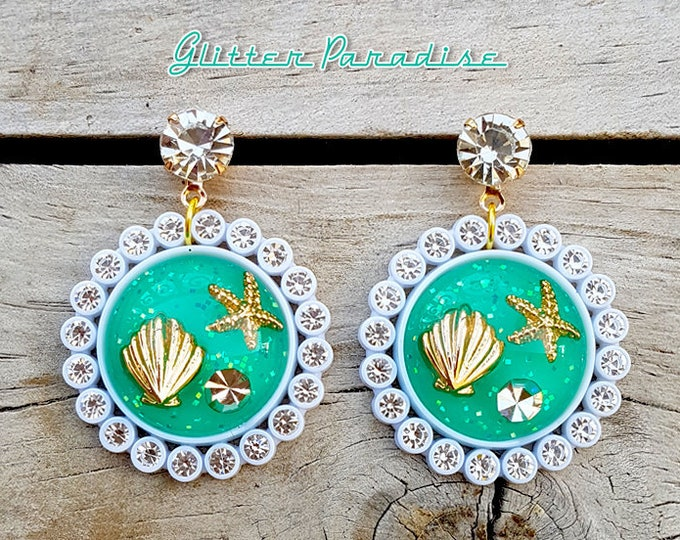 Undersea Princess  - Earrings - Under the Sea - Sea Life - Ocean Brooch - Ocean Lover - Mermaid - Seahorse Brooch - Glitter Paradise®