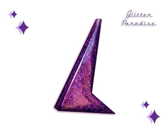Sharp Boomerang Glitter Dust - Brooch - Atomic Boomerang - Mid-Century Modern - 50s - Confetti Lucite - Pin-up - Retro - Glitter Paradise®