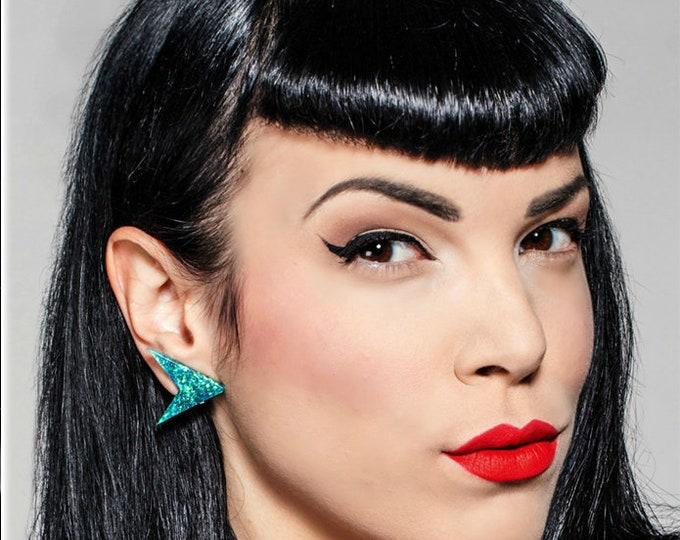 Confetti Lucite Sharp Boomerang Lagoon - Earrings - Confetti Lucite - Atomic Boomerang - Mid-Century Modern - Lucite - Glitter Paradise®