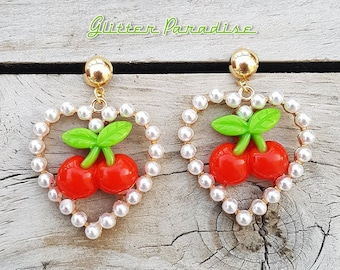 Marilyn & Pearls Cherries - Earrings - Cherry - Sweet Cherries - Pinup - Rockabilly - Cherry Jewelry - Pin-up Jewelry - Glitter Paradise®