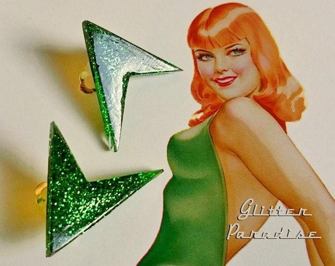 Lucite Sharp Boomerang Dust - Earrings - Confetti Lucite - Atomic Boomerang - Mid-Century Modern - 50 - Vintage Inspired - Glitter Paradise®