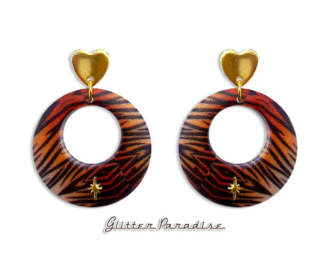 Atomic Tiger Love Hoops - Earrings - Retro Hearts - Hearts - Vintage Inspired - Retro Hoops - Heart Jewelry - Gold Hoops - Glitter Paradise®