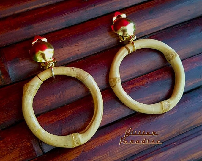 Natural Bamboo Hoops Clips - Earrings - Bamboo Root - Bamboo Hoops - Bamboo Jewelry - Vintage Exotica - Beach Jewelry - Glitter Paradise®