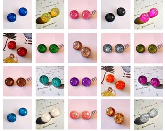 Confetti Lucite Small Dômes - Earrings - Confetti Lucite - Glitter Dômes - Retro Earrings - Pinup 50s - Pin-up Jewelry - Glitter Paradise®